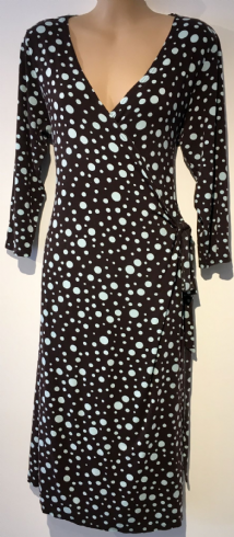 BLOOMING MARVELLOUS BROWN SPOTTY WRAP JERSEY MATERNITY & NURSING DRESS SIZE UK 14